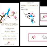 Stationery, pink, blue, brown, Invitations, Custom, Bird, Letterpress, Farfalla wedding