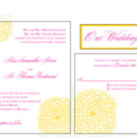 Stationery, yellow, pink, Invitations, Custom, Letterpress, Farfalla wedding, Rosette