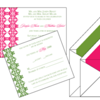 Stationery, pink, green, Invitations, Custom, Scroll, Letterpress, Flourish, Farfalla wedding