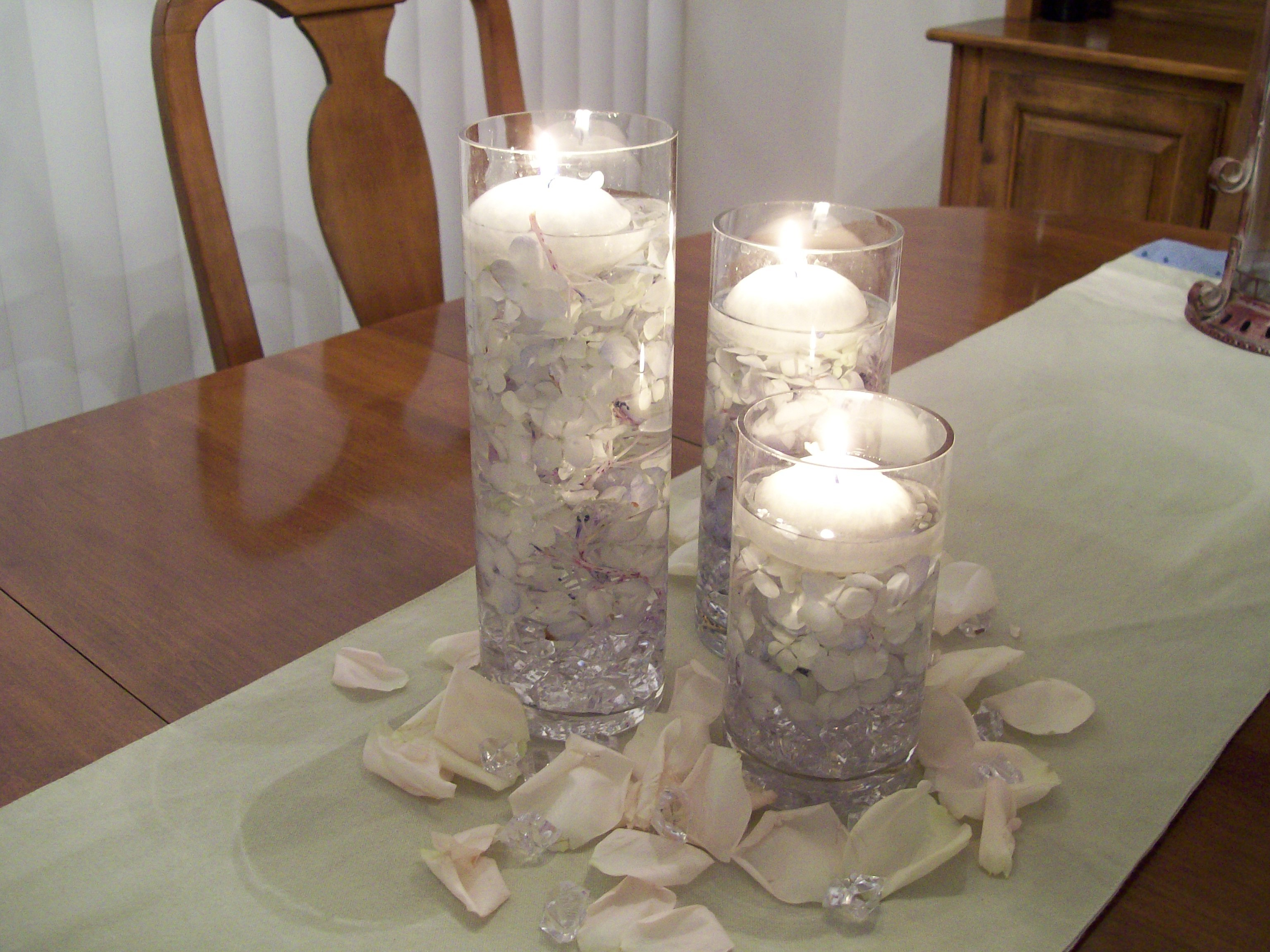 Hydrangea and floating candle centerpiece project wedding
