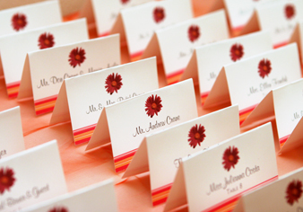 Stationery, orange, pink, Escort Cards, Serendipity design, Fuschia