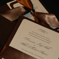 Stationery, brown, invitation, Invitations, Ribbon, Serendipity design