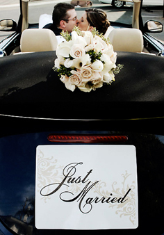 Car, Just married, Serendipity design, Sign