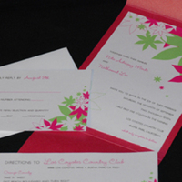 Flowers & Decor, Stationery, pink, invitation, Invitations, Flowers, Serendipity design, Pocketfold, Fuschia