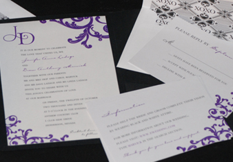 Stationery, purple, invitation, Invitations, Serendipity design, Pocketfold, Damask