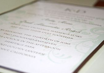 Stationery, green, brown, invitation, Invitations, Serendipity design, Pocketfold