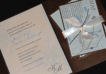 Stationery, blue, brown, invitation, Invitations, Teal, Serendipity design, Pocketfold