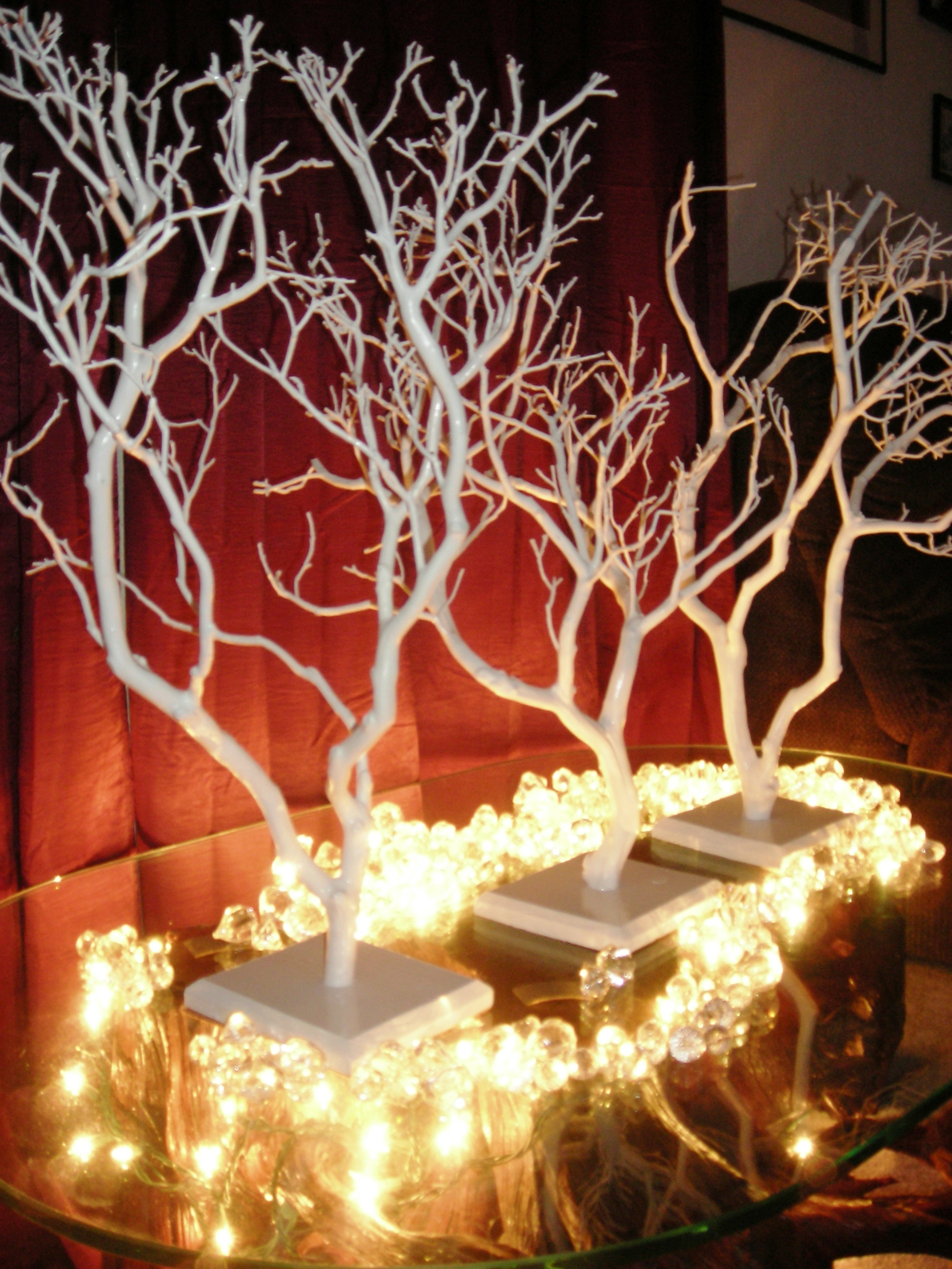 Manzanita wedding centerpiece trees we airbrush your