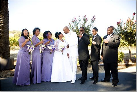 Wedding party, Palm event center, Purple wedding