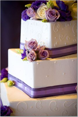 Flowers & Decor, Cakes, purple, cake, Garden Wedding Cakes, Ribbon Wedding Cakes, Flowers, Purple cake