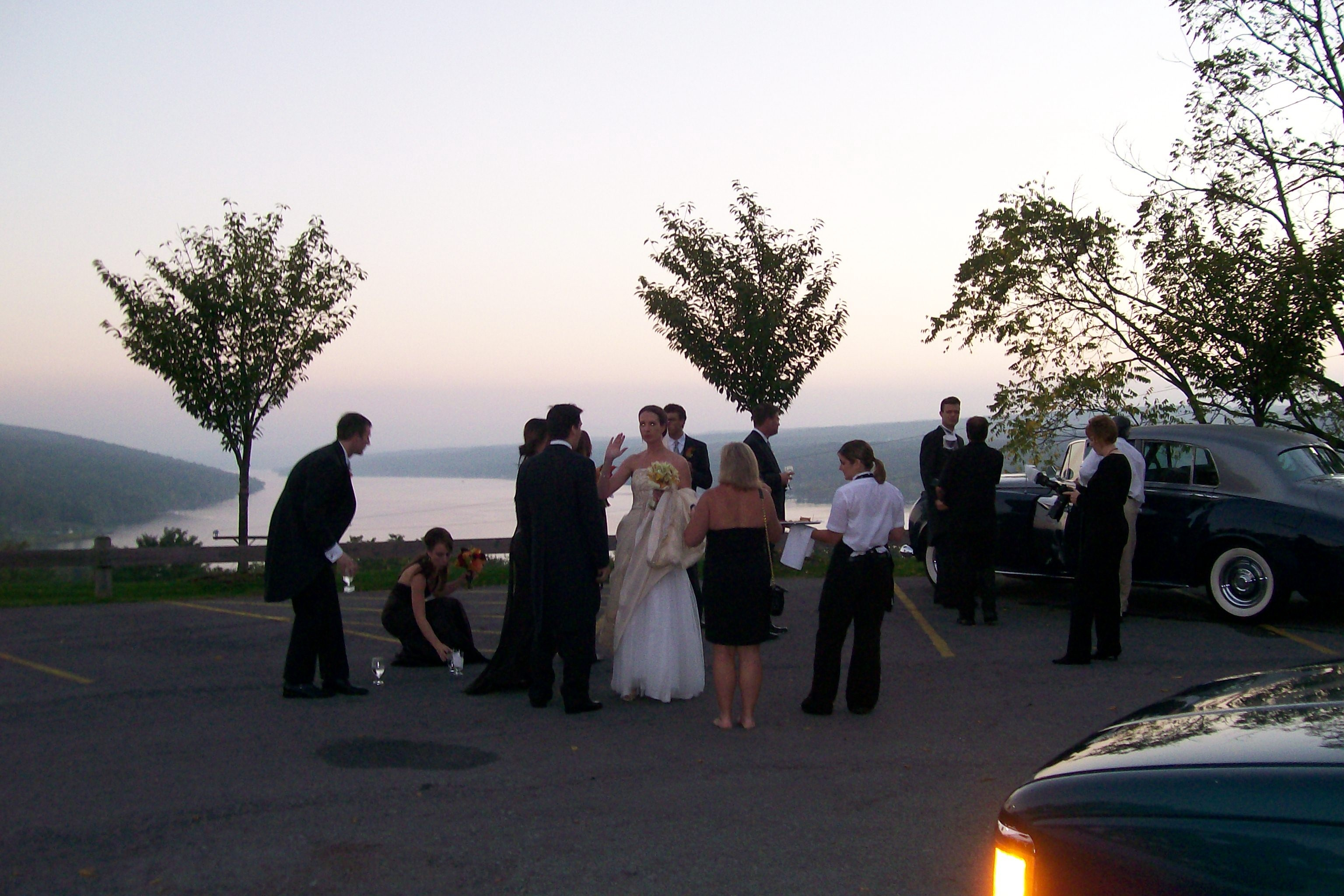 Reception, Flowers & Decor, Cakes, cake, Bride Bouquets, Groomsmen, Bride, Flowers, Wedding, Bridal, Cutting, Rolls, Sunset, Friends, Wine, Royce