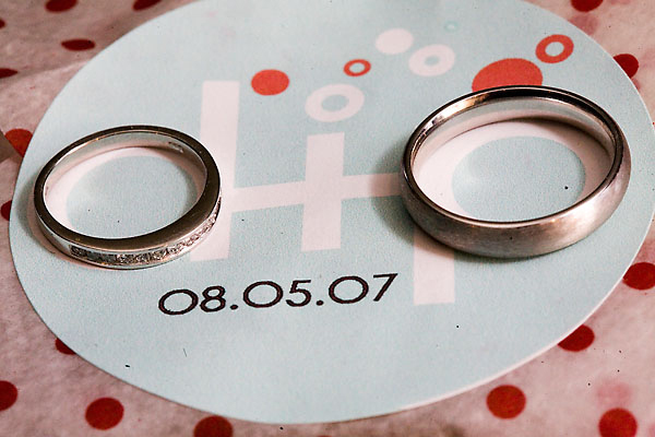 Favors & Gifts, Favors, Rings, Monogram, Aqua and red