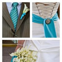 Jewelry, Fashion, blue, Men's Formal Wear, Brooches, Bride, Bouquet, Groom, Tie, Lilies, Details, Brooch, Suit, Kim le photography, Cali