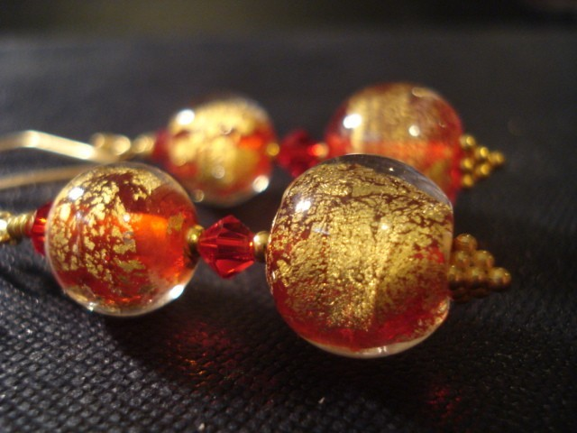 Jewelry, red, gold, Earrings, Etsy, Thebeadedbath