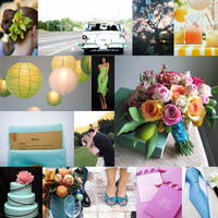 Inspiration, yellow, pink, blue, green, Board