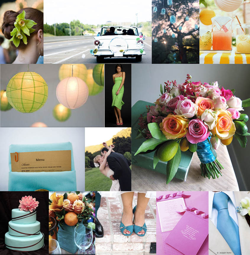 Inspiration, yellow, pink, blue, green, Board