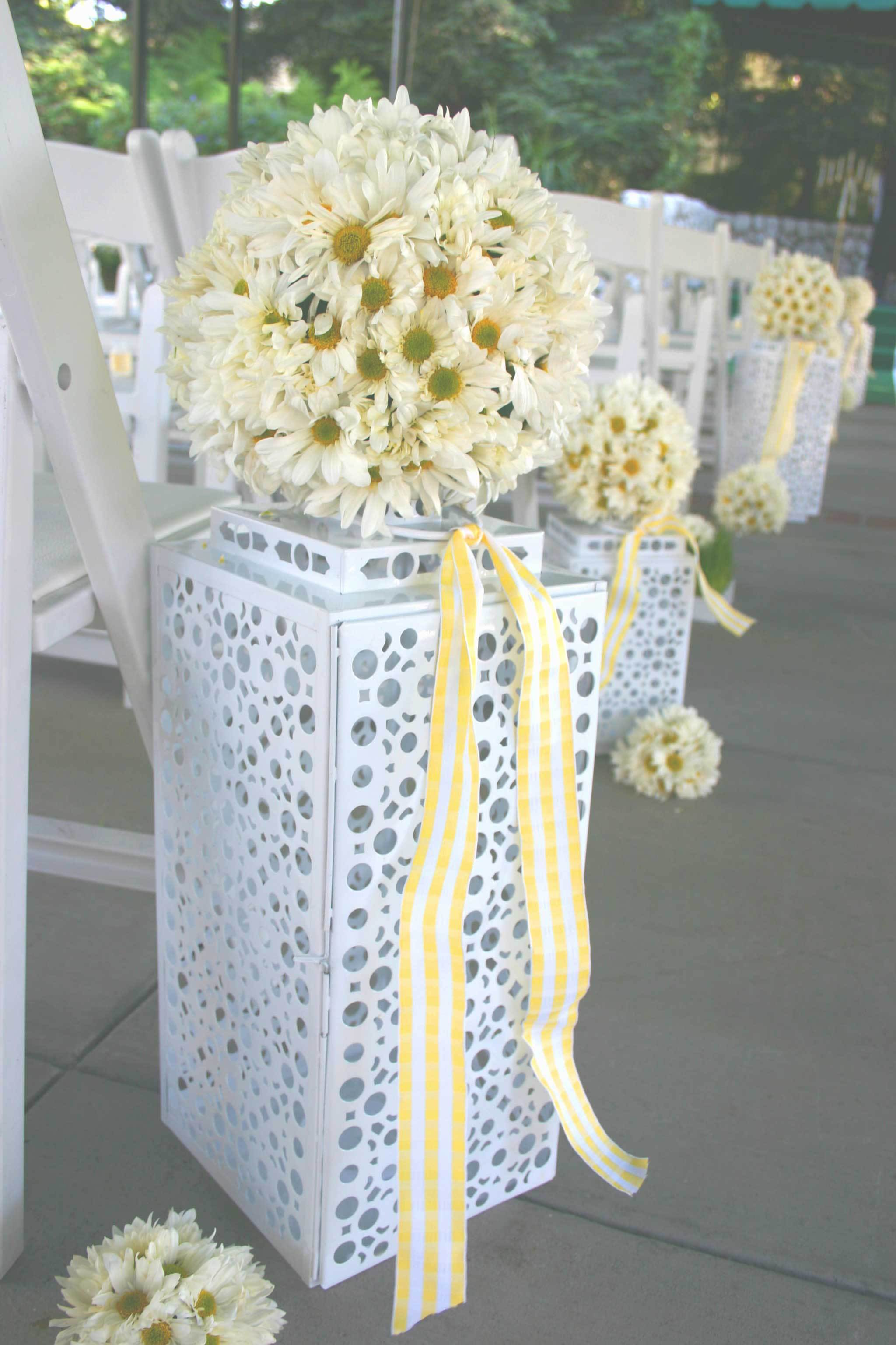 Ceremony, Reception, Flowers & Decor, Cakes, white, yellow, green, cake, Ceremony Flowers, Aisle Decor, Bride Bouquets, Boutonnieres, Flowers, Bouquet, Daisy, Boutonniere, Aisle, La partie events, Daisies, Hippie, Century, Mid