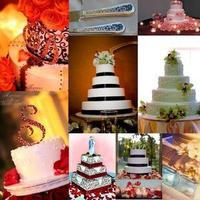 Inspiration, Cakes, white, red, black, cake, Board, Damask