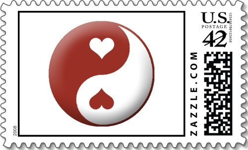 white, red, Everafter stamps, Heart, Yin, Yang