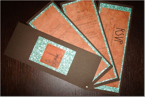 orange, brown, And, Teal, Invite, Paper monkey