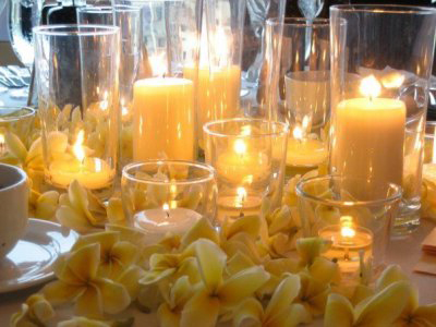 Flowers & Decor, Destinations, Hawaii, Centerpieces, Candles, Flowers, Centerpiece, Wedding, Receptions, Sunset hawaii weddings