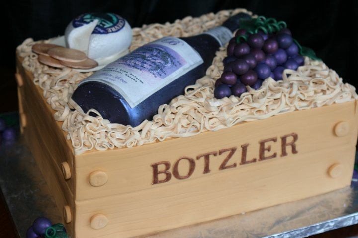 Cakes, cake, Wedding, Fondant, Cheese, Grapes, Wine, Creative cakes and cookies, Crate