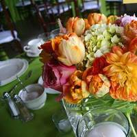 Reception, Flowers & Decor, orange, pink, green, Bride Bouquets, Centerpieces, Garden, Flowers, Garden Wedding Flowers & Decor, Roses, Bouquet, Centerpiece, Fun, Unique, Peach, Tulips, Tulip, Rose, Hydrangea, Peonies, Poppies, La partie events, Creative, Florals, Peony, Ranunculas, Ranuncula, Poppy