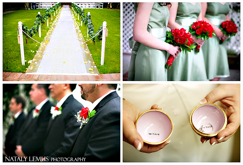 Ceremony, Flowers & Decor, Bridesmaids, Bridesmaids Dresses, Fashion, red, green, Groomsmen, Ring, Orb