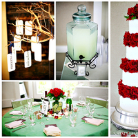 Reception, Flowers & Decor, Cakes, red, green, cake, Centerpieces, Flowers, Ring, Tree, Wish, Orb