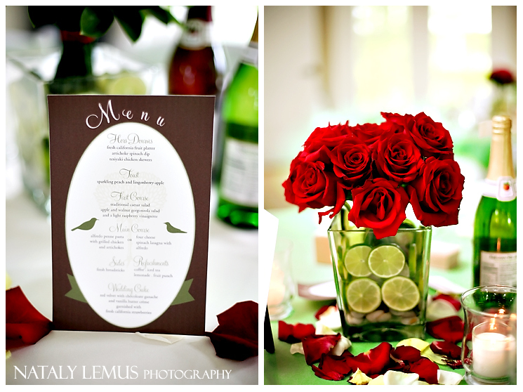 Reception, Flowers & Decor, red, green, brown, Centerpieces, Flowers, Roses, Centerpiece, Menu