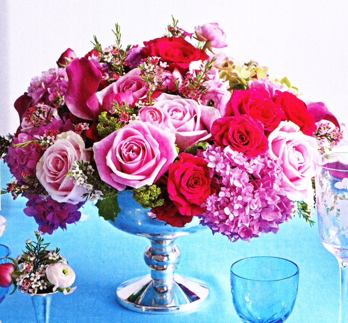 pink, blue, Centerpiece