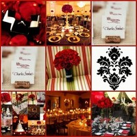 Inspiration, white, red, black, Board, Damask