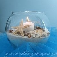 Reception, Flowers & Decor, blue, Beach, Centerpieces, Beach Wedding Flowers & Decor, Centerpiece, Candle, Table, Shells, Starfish, Tulle, Glass, Turquoise, Decoration, Your wedding company