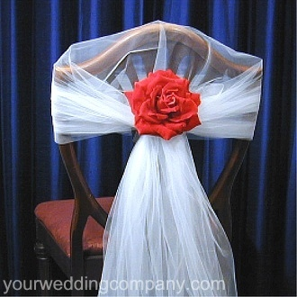 Reception, Flowers & Decor, white, red, Detail, Rose, Chair, Cover, Tulle, Decoration, Decorations, Your wedding company, Chairback, Chair back