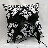 Ceremony, Flowers & Decor, white, black, Black and white, Ring pillow, Ribbon, Pillow, Satin, Aisle, Damask, Your wedding company, B w