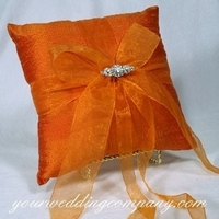 Ceremony, Flowers & Decor, orange, Detail, Ring pillow, Pillow, Chiffon, Rhinestone, Silk, Your wedding company, Tangerine