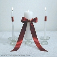 Ceremony, Flowers & Decor, red, burgundy, Candles, Unity candle, Ribbon, Satin, Decorations, Your wedding company