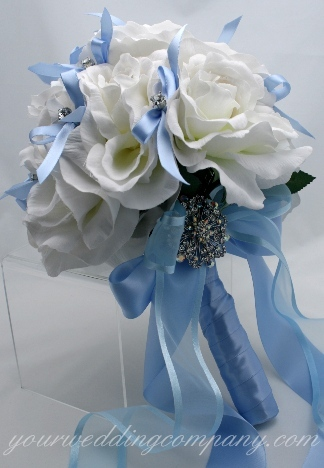 Jewelry, white, blue, Brooches, Roses, Bouquet, Crystal, Brooch, Ribbons, Rhinestone, Your wedding company, Wedding bouquet