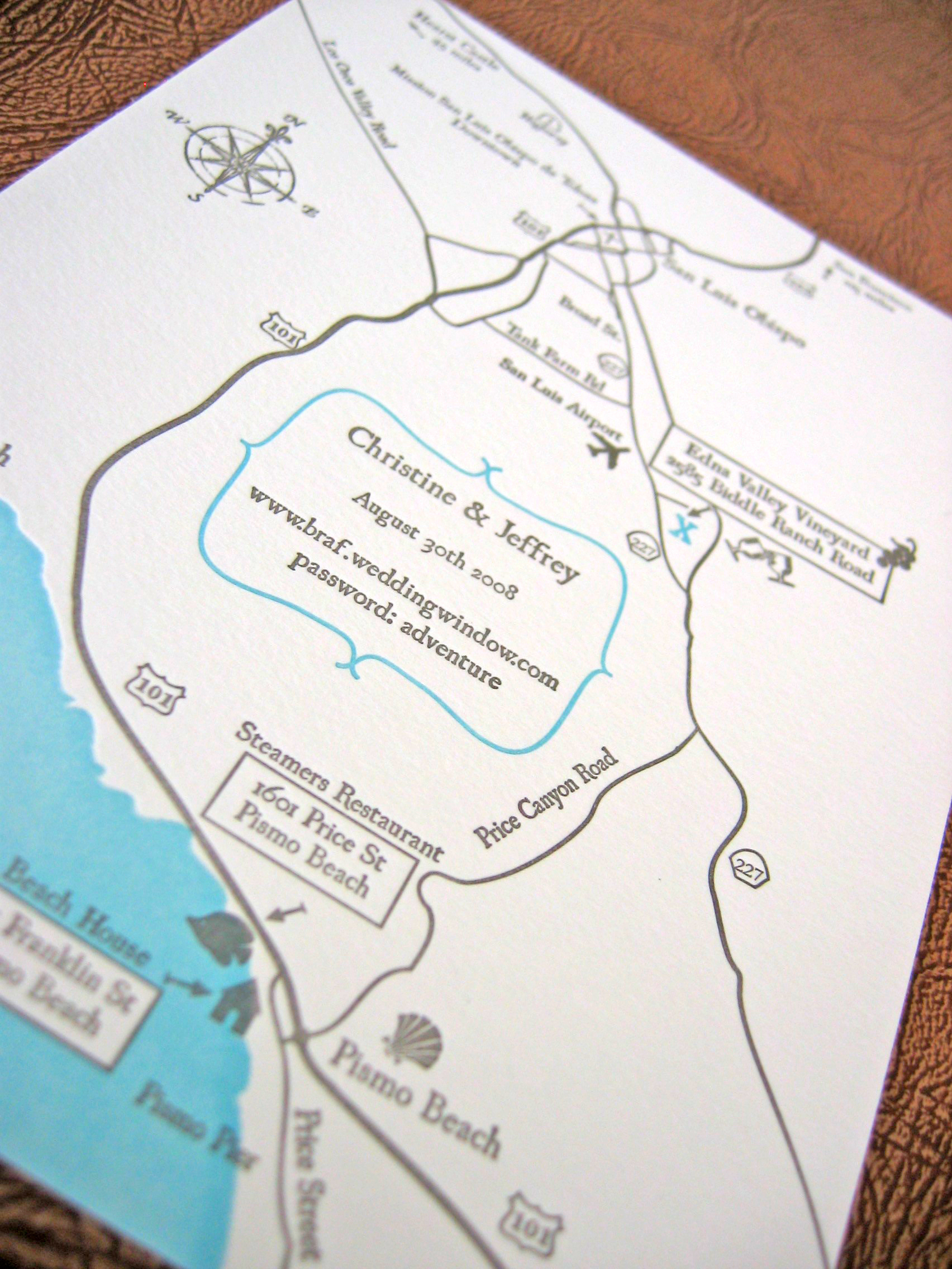 Stationery, Invitations, Map, Custom, Letterpress