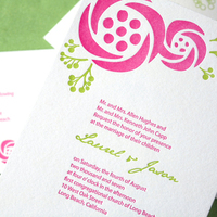 Flowers & Decor, Stationery, pink, green, Garden, Invitations, Wedding, Letterpress