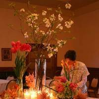 Reception, Flowers & Decor, orange, pink, green, Bride Bouquets, Centerpieces, Garden, Flowers, Garden Wedding Flowers & Decor, Roses, Bouquet, Centerpiece, Fun, Unique, Peach, Tulips, Tulip, Rose, Hydrangea, Peonies, Poppies, La partie events, Creative, Florals, Peony, Ranunculas, Ranuncula, Poppy