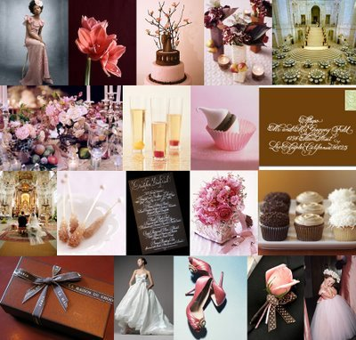 Inspiration, Reception, Flowers & Decor, pink, brown, Chocolate, Board