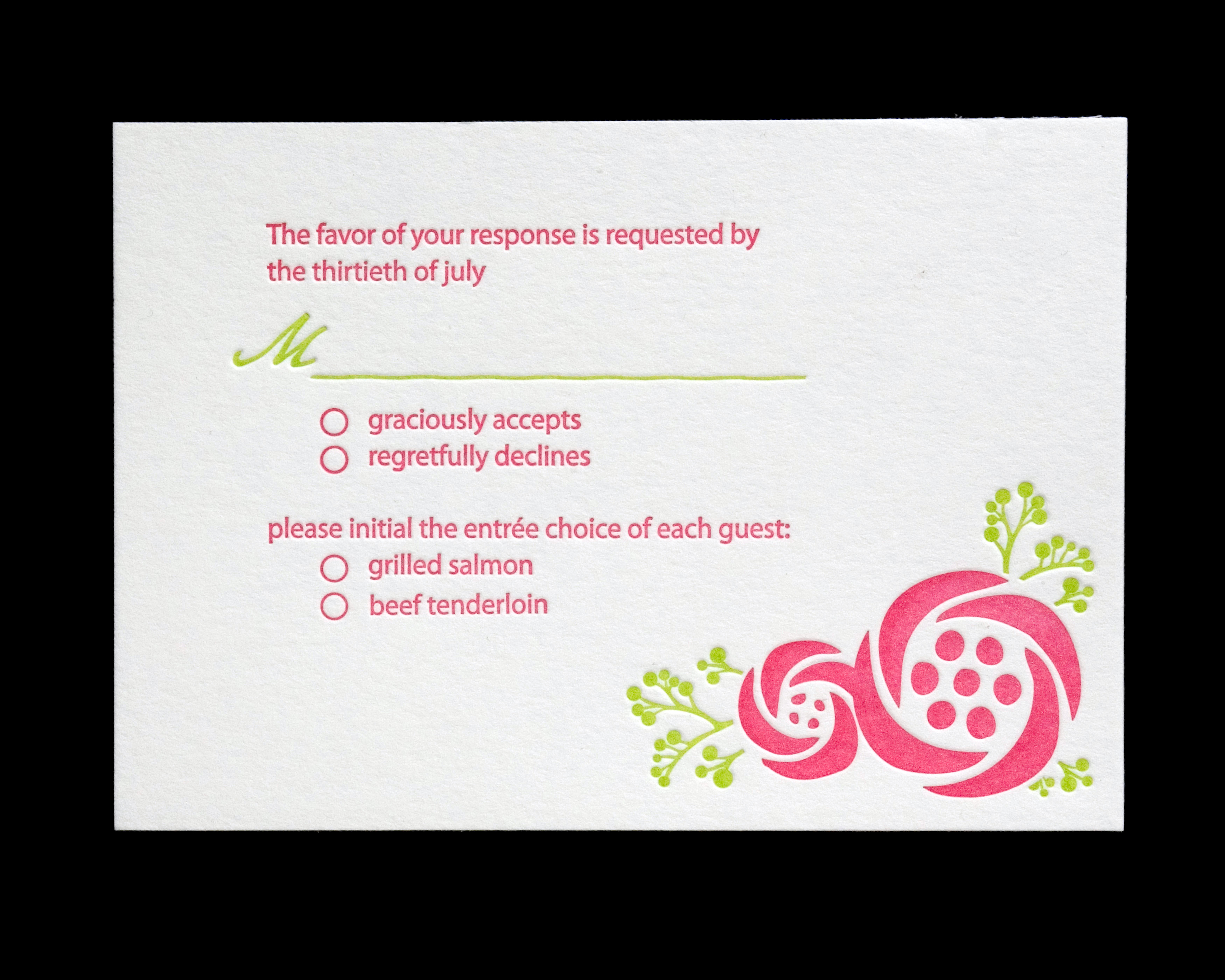 Stationery, pink, green, Invitations, Letterpress