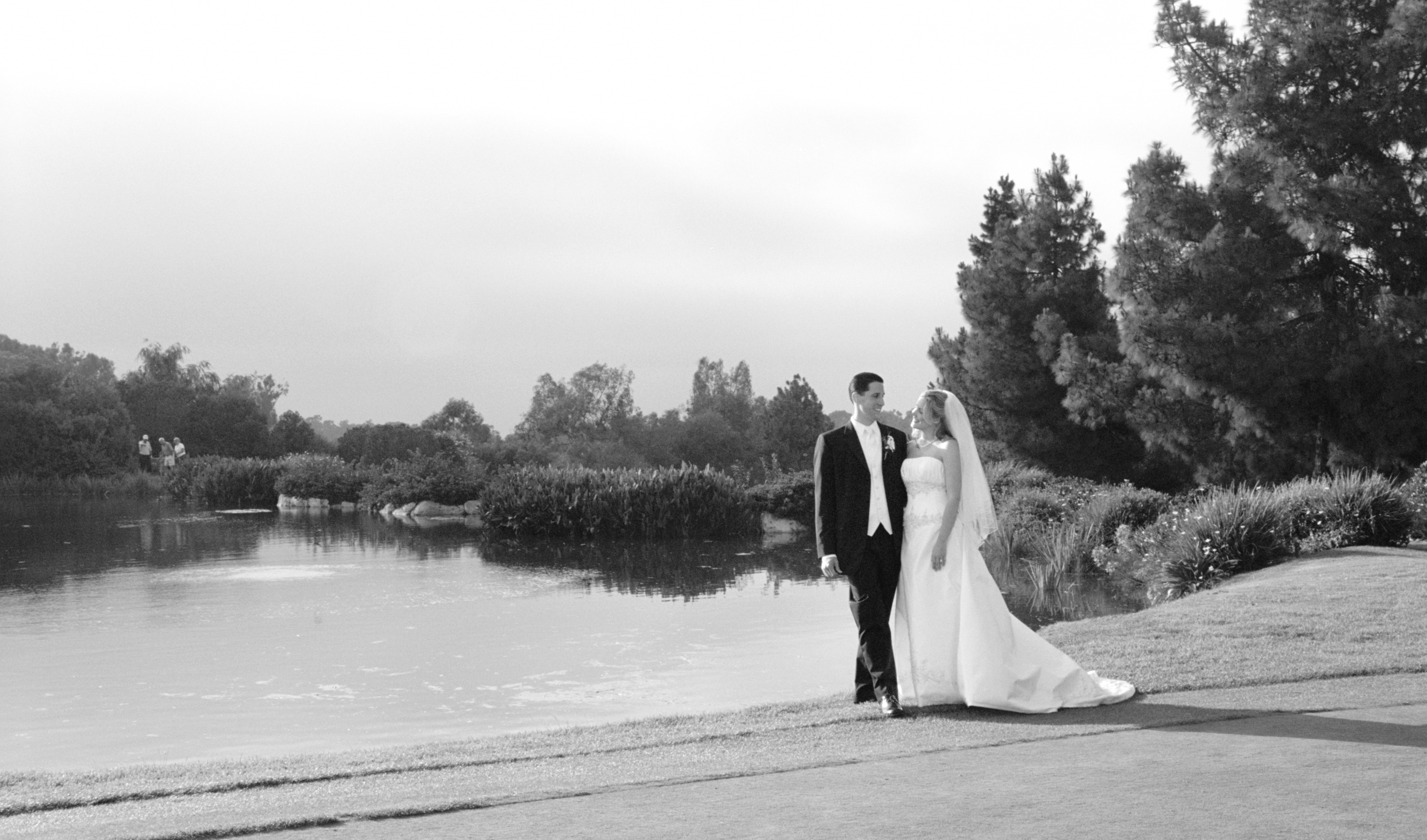 white, black, Bride, Groom, Weddings, Beautiful, Lake
