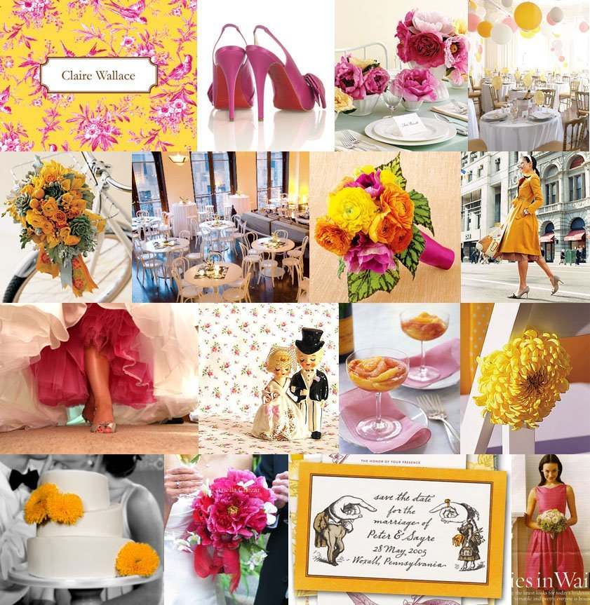 Inspiration, Reception, Flowers & Decor, yellow, orange, pink, Board