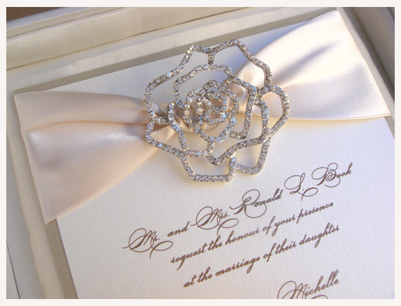 best luxury with flocking brooch invitation quality cards unique of and brooches wedding