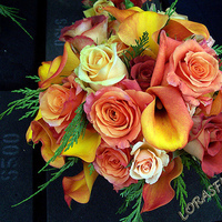 Flowers & Decor, yellow, orange, Centerpieces, Flowers, Roses, Centerpiece, Calla-lilies