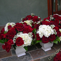 Flowers & Decor, white, red, Centerpieces, Flowers, Roses, Centerpiece, Hydrangea