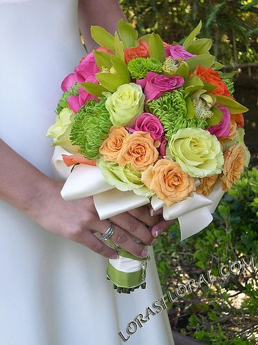 Flowers & Decor, orange, pink, Bride Bouquets, Flowers, Roses, Bouquet, Tropical, Orchids