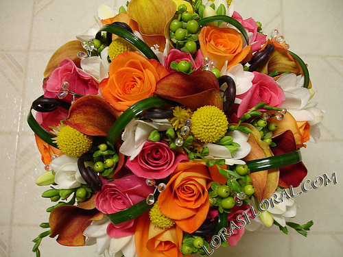 Flowers & Decor, orange, pink, Bride Bouquets, Flowers, Roses, Bouquet, Tropical, Calla-lilies